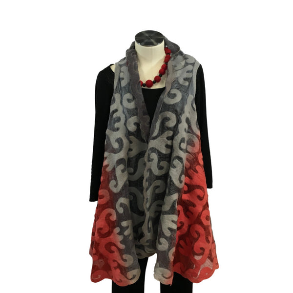 Silk and Felted Long Vest from Kyrgyzstan, Red & Grey