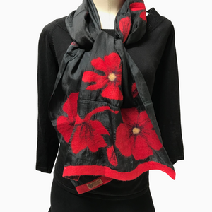 Kyrgyz Felted Silk Scarf-Red Poppies on Black-Short