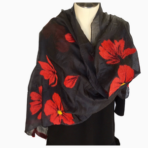 Handmade Kyrgyz felted silk scarf, red poppies on black from HoonArts