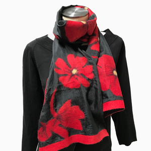 Kyrgyz Felted Red Poppies on Black Silk Scarf-Short