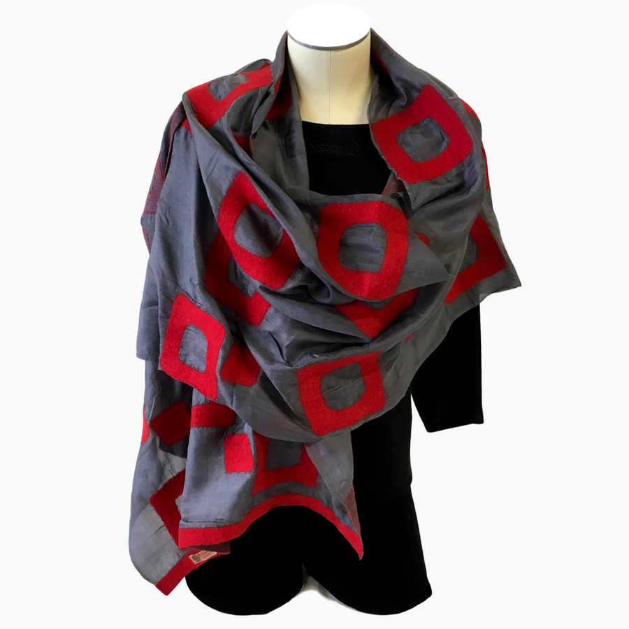 Kyrgyz Hand-Felted Silk Scarf/Shawl, Red Rectangles on Grey