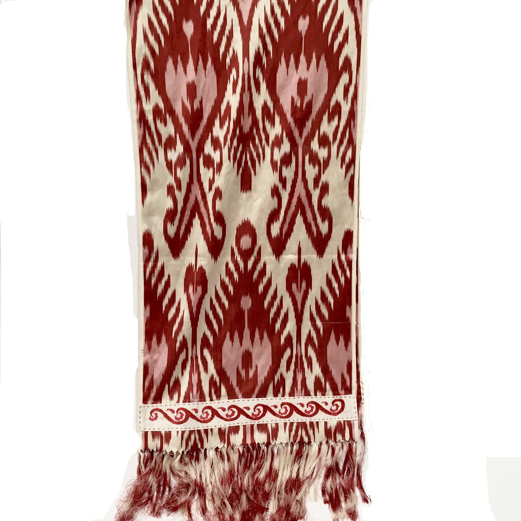 Ikat Silk Scarf with Hand-Embroidery, Red, White & Pink - HoonArts - 1