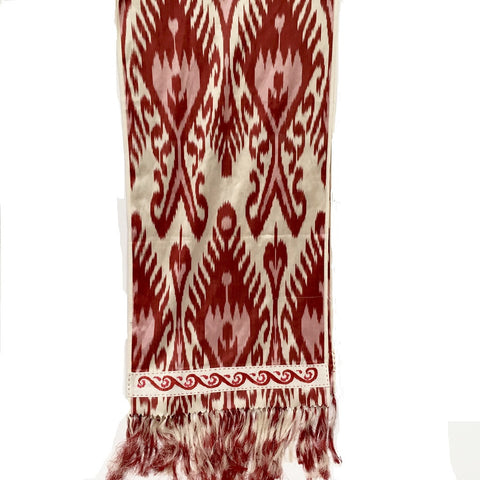 Ikat Silk Scarf with Hand-Embroidery, Red, White & Pink