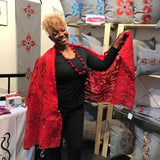 Silk and Felted Shawl, Red