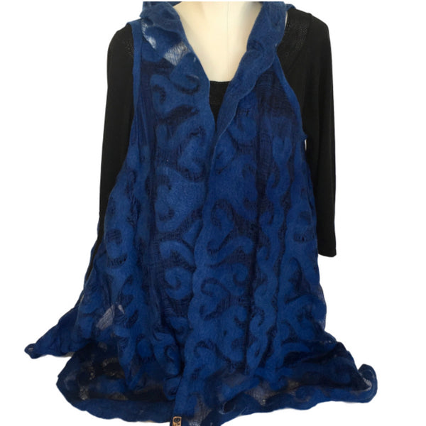 Silk and Felted Long Vest from Kyrgyzstan, Royal Blue