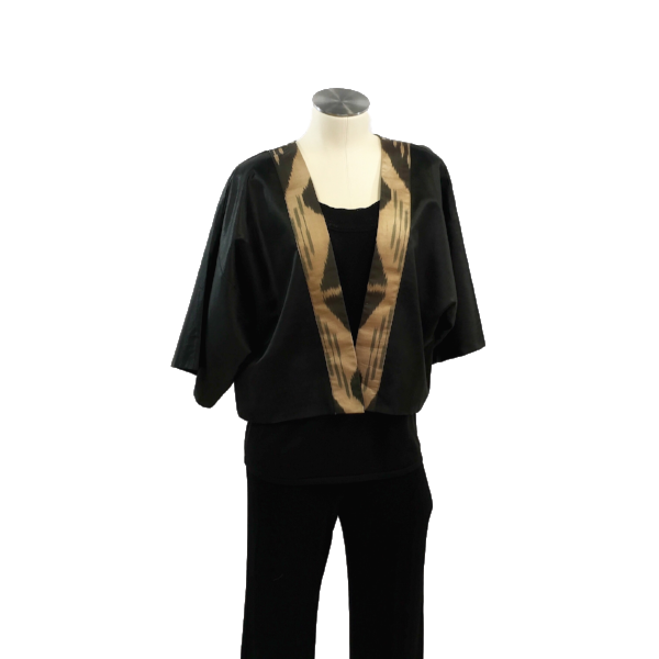 Silk Ikat Short Jacket-Black & Gold