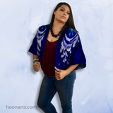 Short Blue & Silver Handwoven Silk Ikat Kimono Jacket-Sustainable Fashion