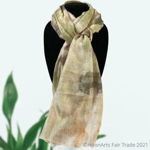 Eco-Printed Silk Scarf-Green with Gray Accents - made in Kyrgyzstan
