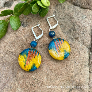 "Small Hand Painted Wooden Earrings-""Galina"""