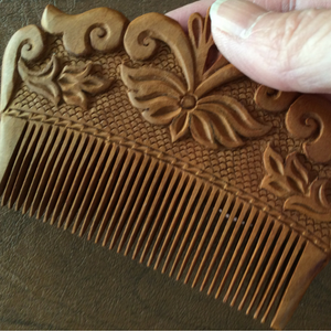 Hand Carved Ornamental Wooden Comb, Small - Fair Trade (2 Varieties) - HoonArts - 3
