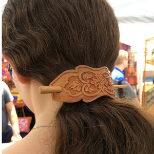 Hand Carved Ornamental Wooden Barrettes Hair Stick - Apricot- Fair Trade - HoonArts - 2