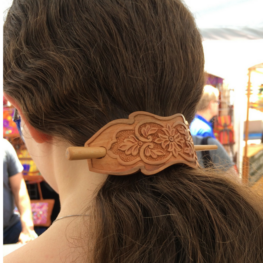 Hand Carved Ornamental Wooden Barrettes Hair Stick - Apricot- Fair Trade - HoonArts - 1