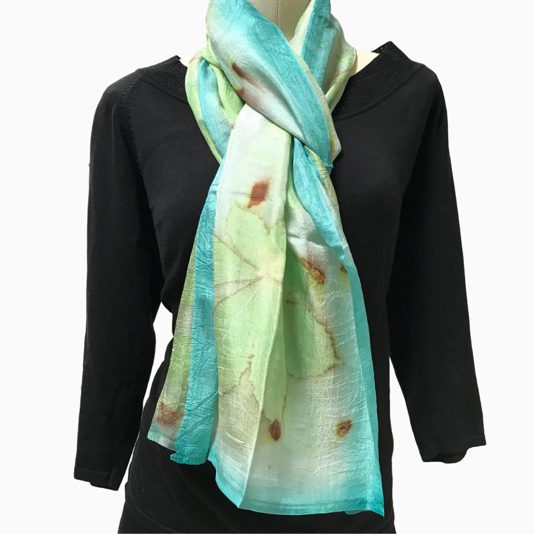 Kyrgyz Eco-Printed Silk Scarf, Teal Accents