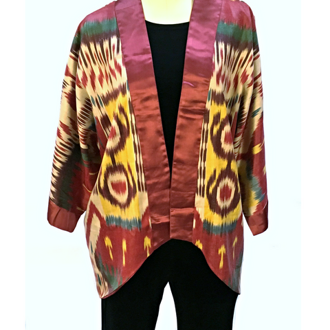 Ikat Kimono Jacket-Silk, Red, Green & Yellow