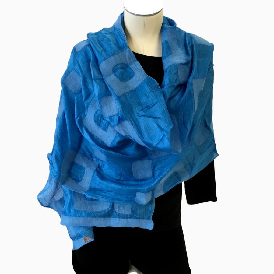 Kyrgyz Hand-felted Silk Scarf/Shawl, Solid Blue Rectangles Pattern