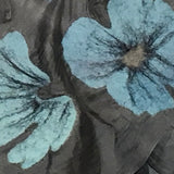 Silk and Felted Scarf, Turquoise Poppies on Grey