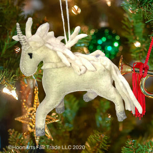 Handmade Felt Christmas Ornament-All White Unicorn | HoonArts