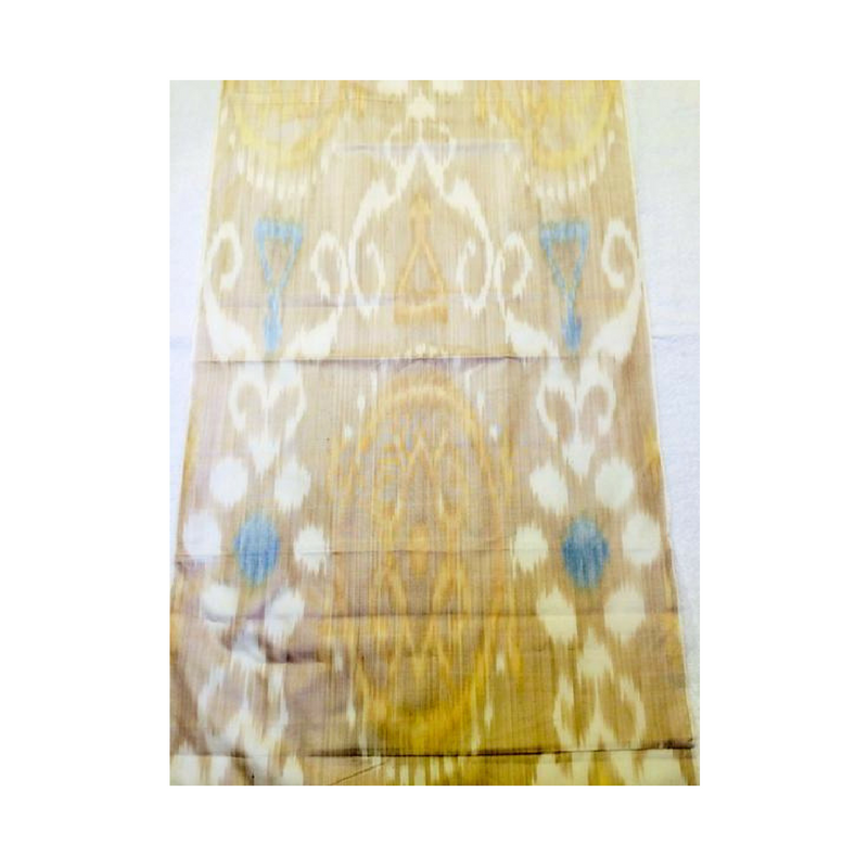 Hand-dyed, Handwoven, Ikat Fabric, Silk Cream, Light Brown and Blue - HoonArts - 1