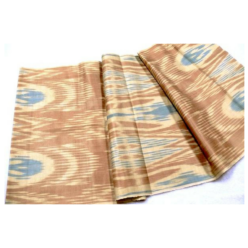 Hand woven, Hand Dyed, Ikat Fabric Tan, Beige & Blue - HoonArts