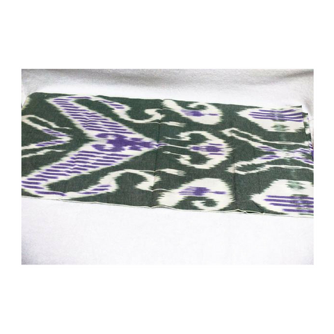 Hand-dyed, Handwoven,Ikat Fabric, Cotton White, Green and Purple