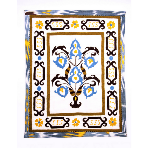 "Suzani Hand Embroidered Decorative Tapestry ""Butta"", White, Blue, Brown, Yellow, Green-Fair Trade"