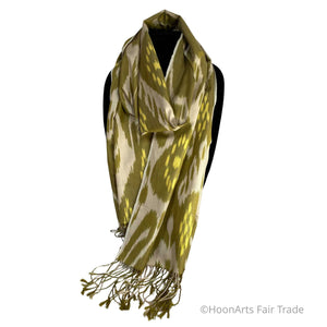 Handwoven Uzbek Ikat Silk Scarf-Green, Yellow, Cream