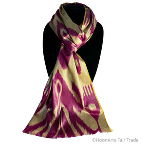 Uzbek Ikat Silk Scarf-Cotton/Silk Blend-Pink on Gold