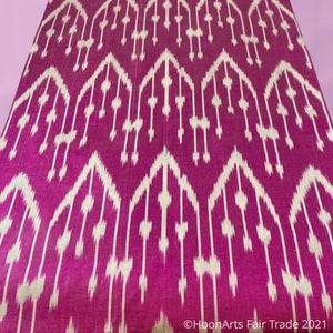 Handwoven Silk Ikat Infinity Scarf from Uzbekistan-White Pattern on Hot Pink