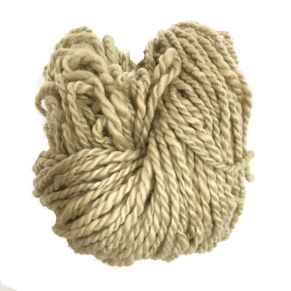 Hand Spun Mohair Yarn - Beige & Light Green Variegated - HoonArts - 1