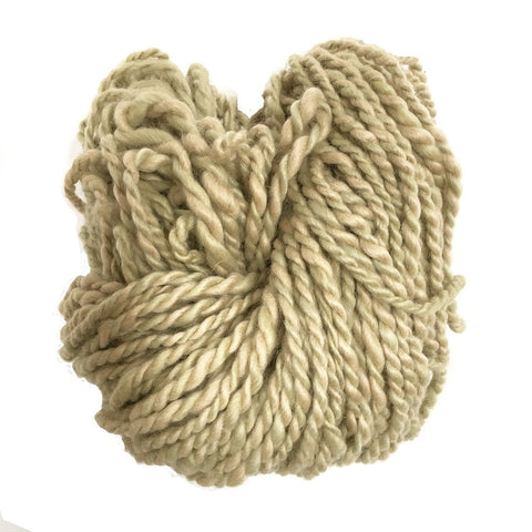 Hand Spun Mohair Yarn - Beige & Light Green Variegated