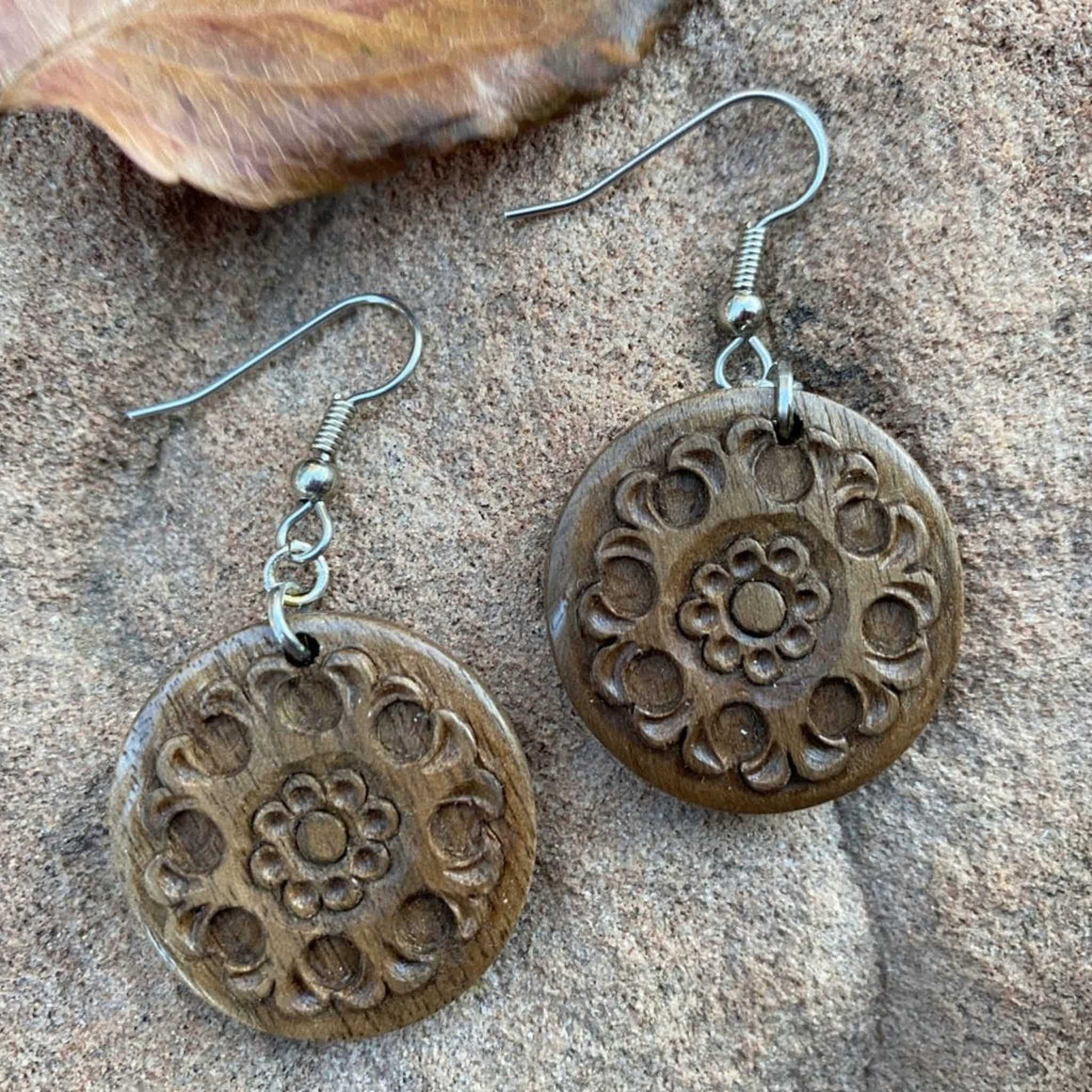 Apricot Wood Earrings, Hand Carved in Tajikistan, Round Floral Pattern, Surgical Steel Wires