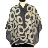 Hand-felted Silk Scarf/Shawl, White Circles on Grey