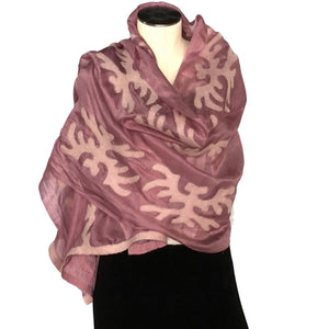 Silk and Felted Scarf, White on Fuchsia