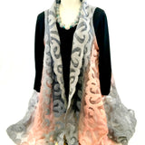 Silk and Felted Long Vest, Peach & Grey
