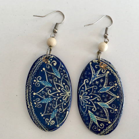 Hand Painted Wooden Earrings-Blue Suzani Pattern
