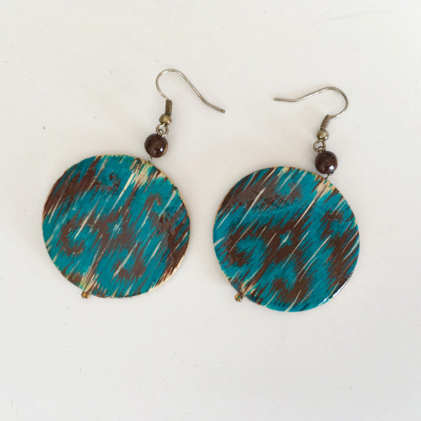 Hand Painted Wooden Earrings-Turquoise and Brown Ikat Pattern