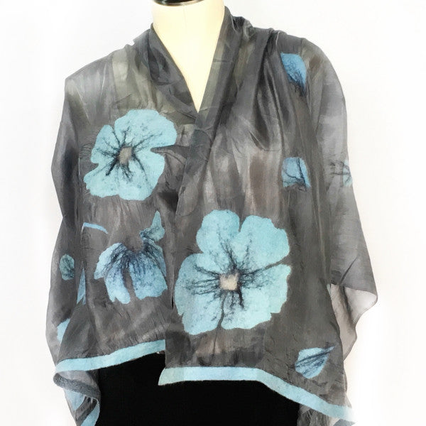 Handfelted Silk Scarf from Kyrgyzstan-Turquoise Flowers on Grey