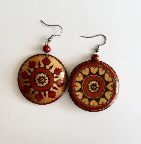 Hand Painted Wooden Earrings-Red Floral & Hearts Suzani Pattern