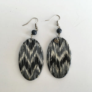 Hand Painted Wooden Earrings-Black, Grey & White Ikat Pattern