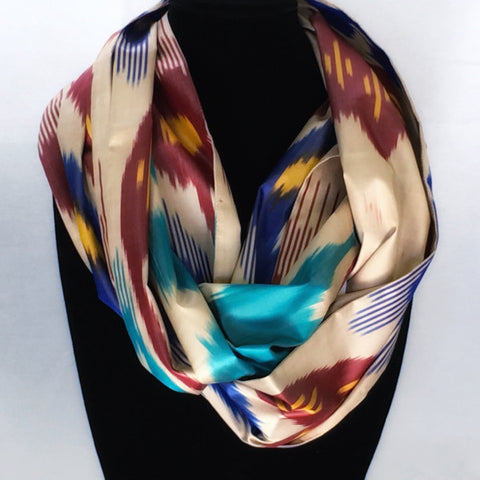 All Silk Ikat Infinity Scarf-Red & Turquoise on Cream