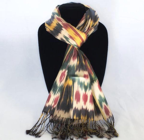 Ikat Silk Scarf-Cotton/Silk Blend-Tulip Multi-Color