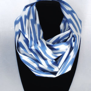 Ikat Silk Infinity Scarf-Cotton/Silk Blend-Blue & White