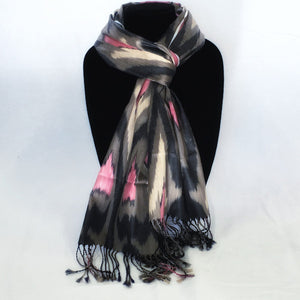 Ikat Silk Scarf-Cotton/Silk Blend-Grey & Pink