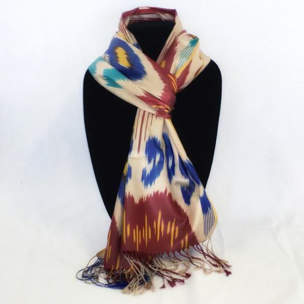 Uzbek Handwoven Silk Ikat Scarf-Red & Turquoise
