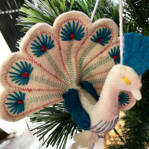 Handmade Felted Christmas Ornament from Kyrgyzstan-Peacock