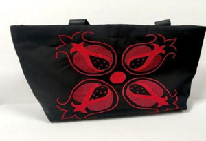 Hand-Embroidered red pomegranate tote bag