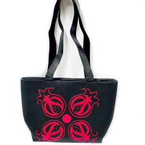Hand-Embroidered Black & Red Tote Bag from Tajikistan