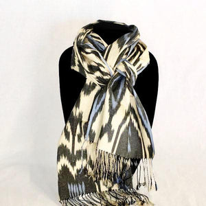 Ikat Silk Scarf-Cotton/Silk Blend-Black & Blue on Cream