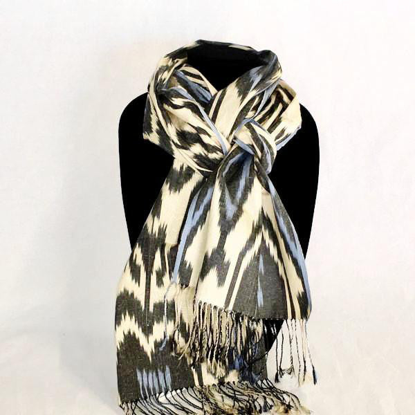 Silk cotton ikat scarf - blue and black on cream made in Uzbekistan