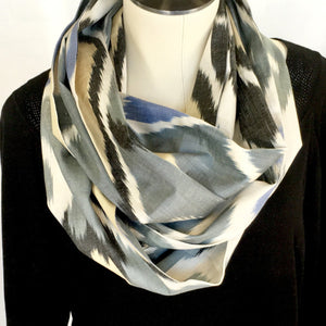 Ikat Silk Infinity Scarf-Cotton/Silk Blend-Grey, Cream, Black & Blue